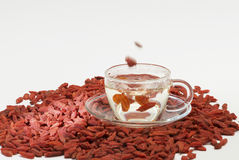 Cup of wolfberry tea Royalty Free Stock Image