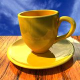 Cup on a wooden table Royalty Free Stock Images