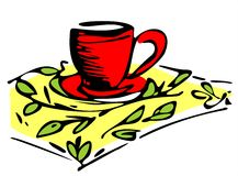 Cup on a yellow napkin Royalty Free Stock Photo