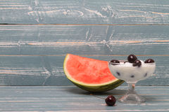 Cup of yoghurt with melon Royalty Free Stock Images