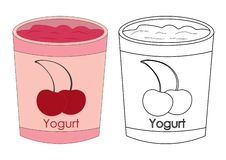 Cup of yogurt with cherry colorful and in black with white color Vector Illustration
