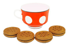 Cup of yogurt and cookies Royalty Free Stock Images