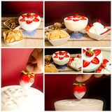 Cup yogurt and strawberries Stock Photos