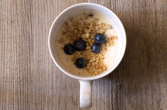 Cup of yougurt. With blueberries Stock Photography