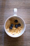 Cup of yougurt. With blueberries Royalty Free Stock Images