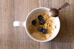 Cup of yougurt with blueberries. With a vitae food Royalty Free Stock Images