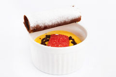 Cup of Zuppa inglese dessert with cocoa biscuit Royalty Free Stock Images