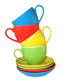 Cup2. Set of amusing ware: multi-coloured cups and saucers. Part1! Various variants and continuation of these subjects look at me in a portfolio Royalty Free Stock Photography