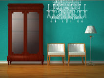 Cupboard with chairs, lamp and glass chandelier Stock Images