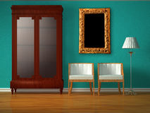 Cupboard with chairs and stand lamp with frame Stock Image