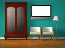 Cupboard with chairs and stand lamp with lcd tv Royalty Free Stock Photography