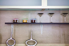 Cupboard details. Wall cabinet,condiment shelf,tableware Royalty Free Stock Photos