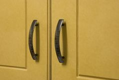 Cupboard Doors. Wooden Kitchen Cupboard Doors and handles stock image