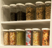 Cupboard with food stock Royalty Free Stock Images