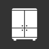 Cupboard icon on black background. Modern flat pictogram for bus Royalty Free Stock Photography