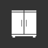 Cupboard icon on black background. Modern flat pictogram for bus Royalty Free Stock Photo