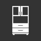 Cupboard icon on black background. Modern flat pictogram for bus Stock Image