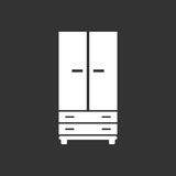 Cupboard icon on black background. Modern flat pictogram for bus. Iness, marketing, internet. Simple flat vector symbol for web site design Royalty Free Stock Photography