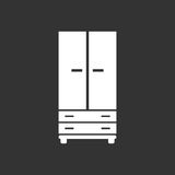 Cupboard icon on black background. Royalty Free Stock Photo