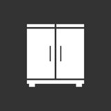 Cupboard icon on black background. Stock Photography