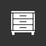 Cupboard icon on black background. Modern flat pictogram for business, marketing, internet. Simple flat vector symbol for web site design Royalty Free Stock Photos