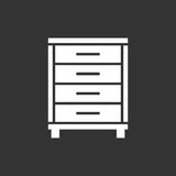 Cupboard icon on black background. Stock Image