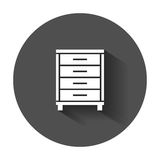 Cupboard icon. Modern flat pictogram for business, marketing, internet. Simple flat vector symbol with long shadow Royalty Free Stock Photos
