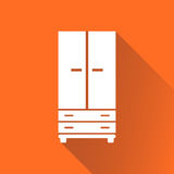 Cupboard icon on orange background with long shadow. Modern flat pictogram for business, marketing, internet. Simple flat vector symbol for web site design Royalty Free Stock Photo