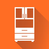 Cupboard icon on orange background with long shadow. Modern flat pictogram for business, marketing, internet. Simple flat vector symbol for web site design Stock Photos