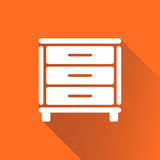 Cupboard icon on orange background with long shadow. Modern flat pictogram for business, marketing, internet. Simple flat vector symbol for web site design Stock Image