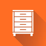 Cupboard icon on orange background with long shadow. Royalty Free Stock Photo