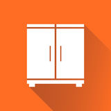 Cupboard icon on orange background with long shadow. Modern flat. Pictogram for business, marketing, internet. Simple flat vector symbol for web site design Royalty Free Stock Images