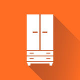 Cupboard icon on orange background with long shadow. Modern flat Stock Photo
