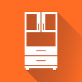 Cupboard icon on orange background with long shadow. Modern flat Stock Photos