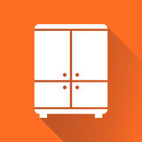 Cupboard icon on orange background with long shadow. Modern flat Royalty Free Stock Photo