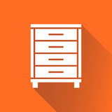Cupboard icon on orange background with long shadow. Modern flat Stock Photography