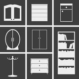 Cupboard Icons. Set of icons on a theme cupboard Royalty Free Stock Image