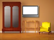 Cupboard with lcd tv, wooden table and chair Royalty Free Stock Image