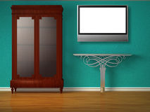 Cupboard with metallic table and flat tv Royalty Free Stock Image