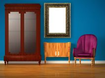 Cupboard with table, modern mirror & purple chair Royalty Free Stock Images