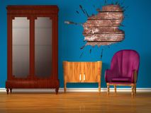 Cupboard with table, purple chair and splash hole Royalty Free Stock Photos