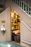 The cupboard under the stairs, Warner Brothers Studio display of decorations for Harry Potter film. UK. Leavesden, London, UK - 1 March 2016: The cupboard under stock images