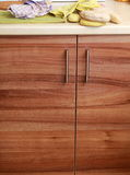 Cupboard wood door cabinet in kitchen Royalty Free Stock Image