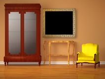 Cupboard with wooden table, frame and chair Royalty Free Stock Photos
