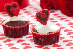 cupcake βαλεντίνος καρδιών ημέρα Στοκ Εικόνες