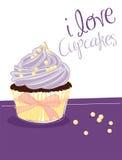 cupcake βιολέτα απεικόνιση αποθεμάτων