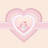 cupcake ετικέτα καρδιών Στοκ φωτογραφίες με δικαίωμα ελεύθερης χρήσης