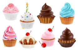 Cupcake, κέικ νεράιδων τρισδιάστατο διανυσματικό σύνολο εικονιδίων