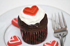 cupcake καρδιά Στοκ Εικόνα