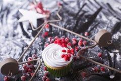 Cupcake με τα κόκκινα μούρα, το βακκίνιο σε ένα σκοτεινό backgroun στοκ εικόνες